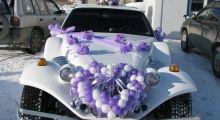 Оформление машин на свадьбу шарами