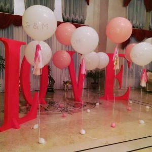 украшение большие гелиевые шары на свадьбу в Москве