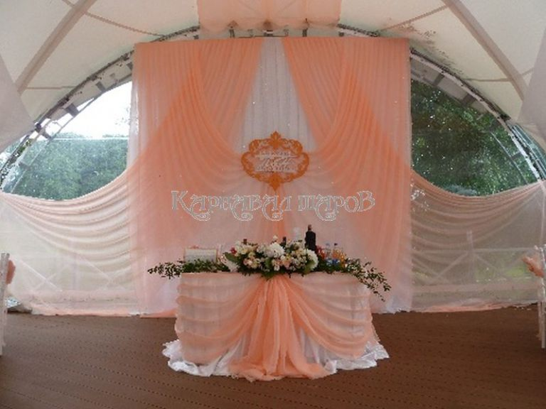 Оформление президиума на свадьбу красиво