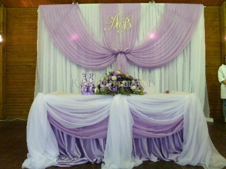 Украшение президиума на свадьбу красиво