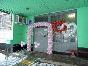 Украшение подъезда аркой из шариков на выкуп невесты