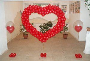 Сердце из шариков на выкуп на свадьбу