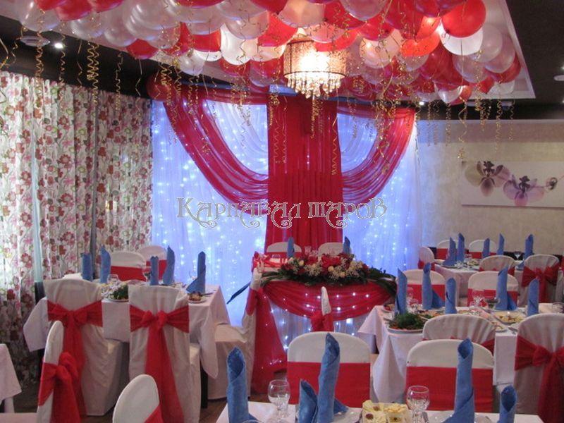 Декор банкетного зала ресторана на свадьбу тканью недорого