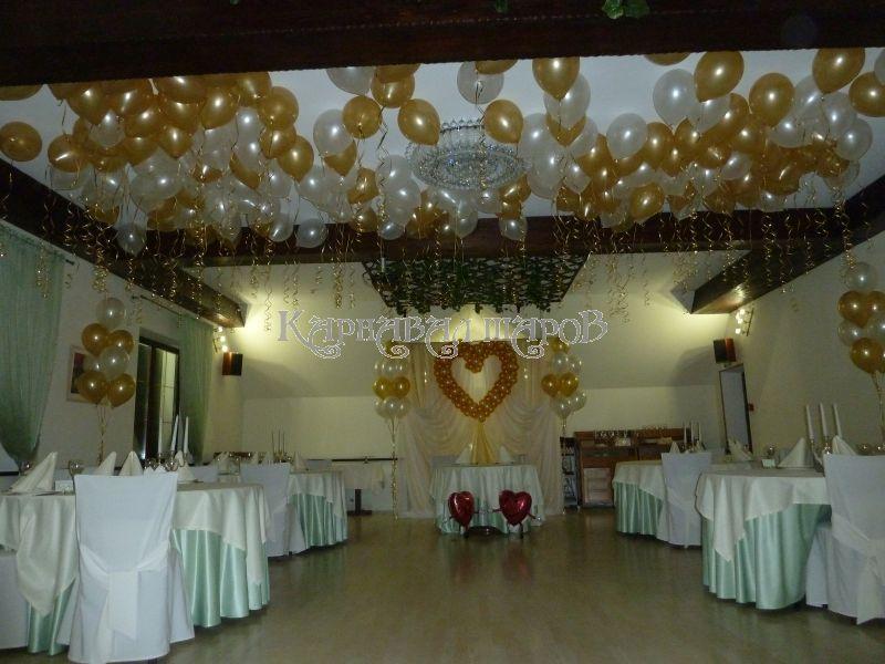 Оформление зала ресторана на свадьбу шарами недорого