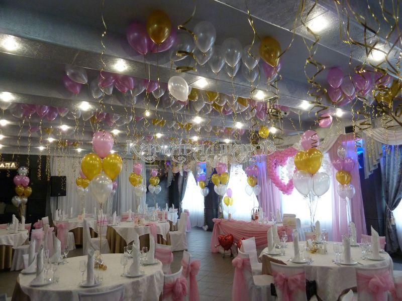 Украшение банкетного зала ресторана на свадьбу цветами