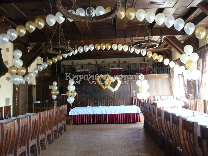 Оформление ресторана на свадьбу шарами
