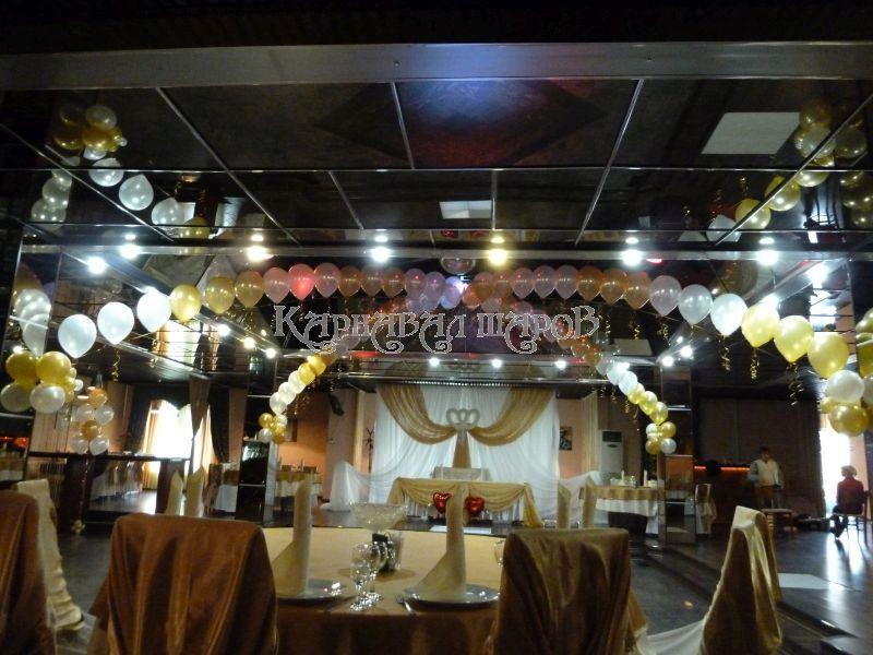 Оформление банкетного зала ресторана на свадьбу шарами