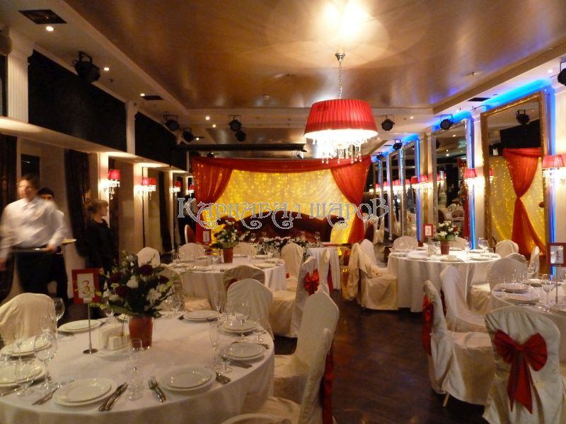Декор ресторана на свадьбу шарами