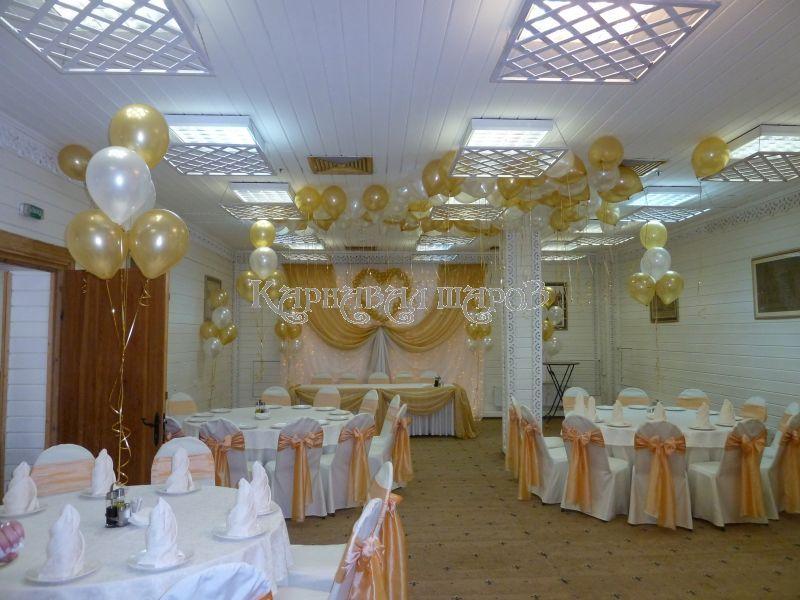 Украшение зала ресторана на свадьбу тканью