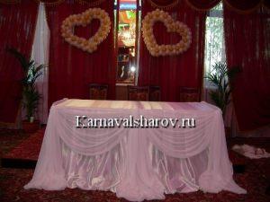 Драпировка свадебного стола шарами