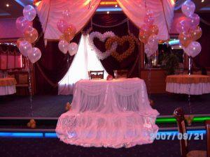 Декор стола молодых шарами